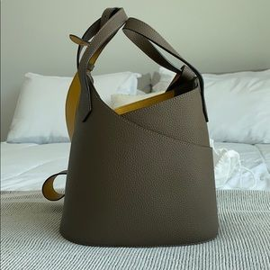 Genuine leather crossbody tote